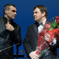 Kristian Benedikt and the conductor Marcello Mottadelli. Photo: Martynas Aleksas.