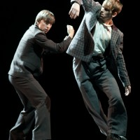 """Martynas Rimeikis showed that he can also make choreography, in addition to be an outstanding dancing soloist at LNBT. His small mniniature piece Waiting for Godot gave the audience an inspiring small history """"in a nutshell"""". Photo: Martynas Aleksas."""