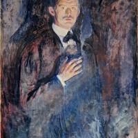 Edvard Munch foto: Selvportrett med sigarett