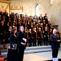 Oslo extended Bach Choire and, in front Ingebjørg Kosmo, mezzo and Trond Halstein Moe, baryto, til høyre Ragnar Rasmussen, dirigent. in Hamar Katehedral. Foto: Henning Høholt