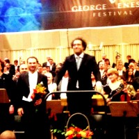 From left Violeta Urmana, Nikolai Schukoff and Leo Hussain, applaus for Gurre Lieder, Bucharest. Foto: Henning Høholt