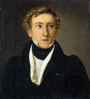 August_Bournonville,(1805 til 1879), Bournonville's mest kjente balletter er La Sylphide (1836), Napoli (1842), Le Conservatoire (Konservatoriet) (1849), The Kermesse in Bruges (1851) and A Folk Tale (Et Folkesagn) (1854)..Bildet er malt i 1828 av Louis Aumont.