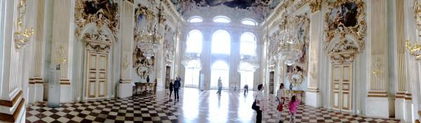 The big hall in Nymphenburg Castle  .  Munich  . Panorama foto Henning Høholt.