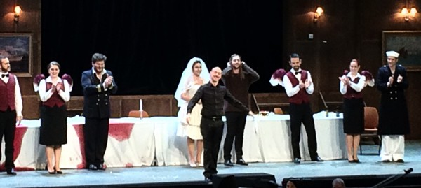 Alessandro De Marcchi, surrounded by Kresimit Spicer and Christine Rice, left, and David Hansen, right, and angels and sailors in Ulysses in Oslo, applaus, foot Henning Høholt,