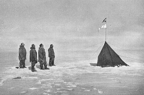 Does anyone remember the world wide sensation: Roald Amundsen has reached the South Pole in 1911, at the 14th. December 2011? From left Amundsen, Hanssen, Hassel and Wisting saluting the Norwegian flag at the South Pole point. 14th. Desember 1911. Photo by:  Olav Bjaaland