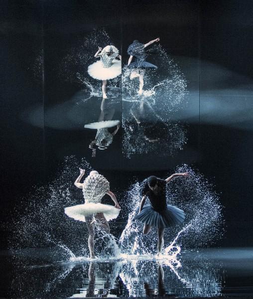 A SWAN LAKE, av Alexander Ekman. Den hvite svane er Camilla Spidsøe, og den sorte svane Melissa Hough. oto Erik Berg.