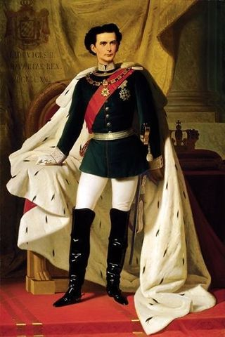 THE 20 years old Ludwig II of Bavaria in hos coronation mantel. Painted by Ferdinand von Piloty