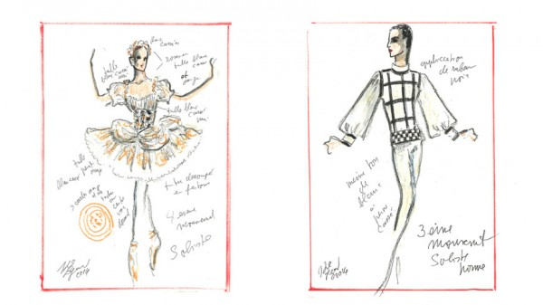 From the production of the costumes at the Opera de Paris for the Balanchine program. design Karl Lagerfeld.