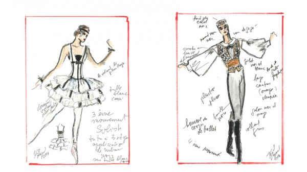 Sketches by KarlLagerfeld for the ballet. Brahms Schönberg Quartet, Foto by © Sébastien Mathé / OnP