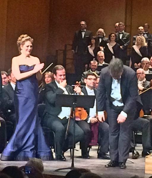 Sondra Radvanovsky applauding Ludovic Tézier.