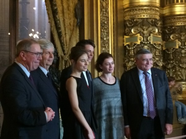 From left to right : Unknown, Stephane Lissner, Marion Barbeau, Germain Louvet, Aurélie Dupont, Jean-Louis Beffa.